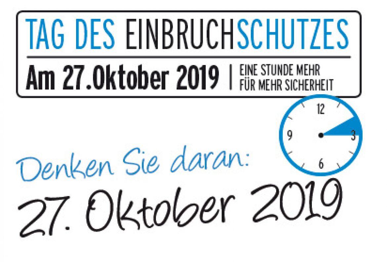 27. OKTOBER 2019– TAG DES EINBRUCHSCHUTZES
